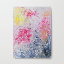 Spring Floral #10 - Pink, Yellow & Blue Abstract Print Metal Print