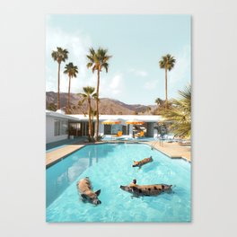 Pig Poolside Party Canvas Print
