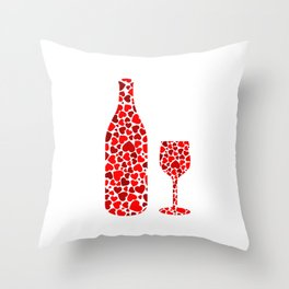 A potion of love- bottle and glass with red hearts Throw Pillow