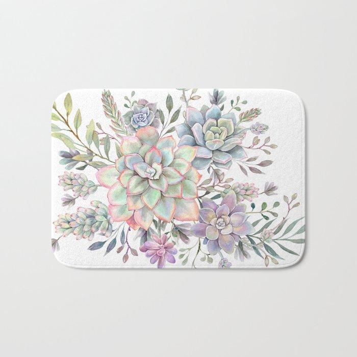 succulent watercolor 8 Bath Mat