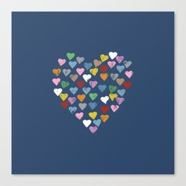 Distressed Hearts Heart Navy Canvas Print