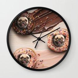 Pugs Succulent Donuts Wall Clock