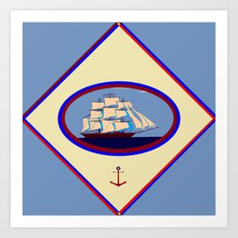 A Nautical Scene with Clipper Ship with Country Blue Background Art Print