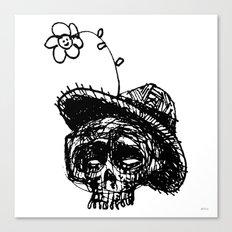 Skull Flower Hat Canvas Print