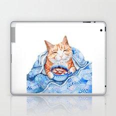 Happy Cat Drinking Hot Chocolate Laptop & iPad Skin