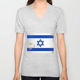 Israel Flag Grunge Unisex V-Neck