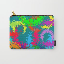 Texture of bright blue gears and laurel wreaths in kaleidoscope rainbow style. Carry-All Pouch