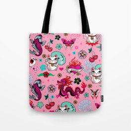 Lucky Cat Maneki Neko , Dragons and Koi fish On Pink Tote Bag