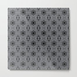 Sharkskin Floral Geometric Pattern Metal Print