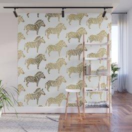 Golden Zebras Wall Mural