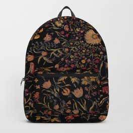Medieval Flowers on Black Backpack