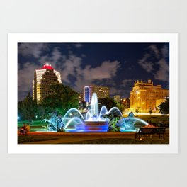 A Night at J.C. Nichols Memorial Fountain - Kansas City Plaza Art Print