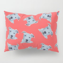 Pit Bull Terrier Puppy Portrait on Red Pillow Sham