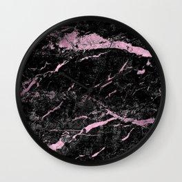 Marble Black Pink - Far Away Wall Clock