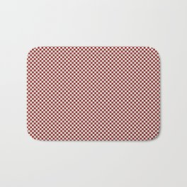 Vintage New England Shaker Barn Red and White Milk Paint Small Square Checker Pattern Bath Mat