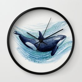 """Orca Spash"" by Amber Marine ~ Watercolor Killer Whale Painting, (Copyright 2016) Wall Clock"