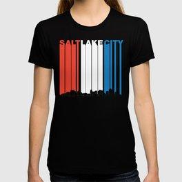 Red White And Blue Salt Lake City Utah Skyline T-shirt