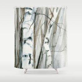 Winter Birch Trees Woodland Watercolor Original Art Print Shower Curtain