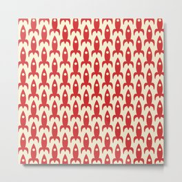Retro Rockets - Atomic Age Aerospace Pattern in Christmas Red and Cream  Metal Print