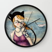 sparrow Wall Clocks featuring Sparrow by Allison Weeks Thomas