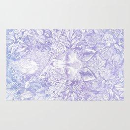Pastel Purple Hiding Fox Drawing Rug