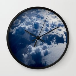 High Altitude Clouds Over Ocean Blue Fluffy Clouds Wall Clock