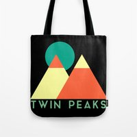 twin peaks Tote Bags featuring Twin Peaks by Victor Velocity