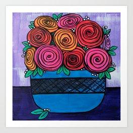 Bowl of Roses Art Print
