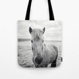 Horse Print | Black and White Rustic Horse Art Tote Bag