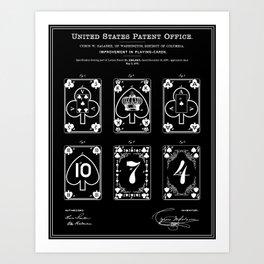 Playing Cards Patent - Black Art Print