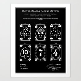 Playing Cards Patent - Black Art Print