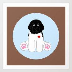 Stuffed Black and White Dog Art Print