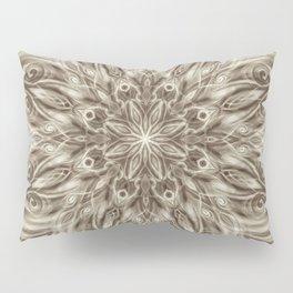 off white sepia swirl mandala Pillow Sham