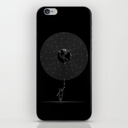 I Dream To Explore The World (Black) iPhone Skin