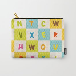 alphabet  from A to Z. Polka dot background with green blue orange square Carry-All Pouch