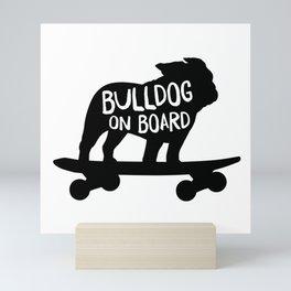 Bulldog on Board | Cool Skateboarding Dog Silhouette in Black Mini Art Print