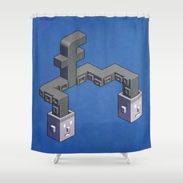 The powerful tentacles of Facebook — pixel art Shower Curtain