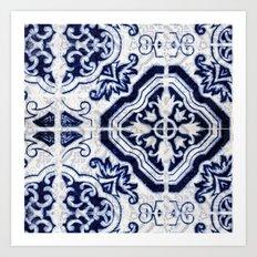 blue tile pattern VII - Azulejos, Portuguese tiles Art Print