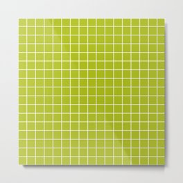 Acid Green - Green Color - White Lines Grid Pattern Metal Print