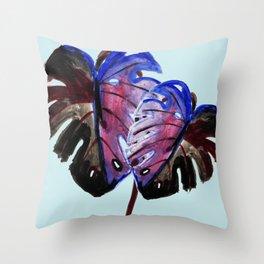 Tropical Plants Split Leaf Philodendron -Aqua Blue Throw Pillow