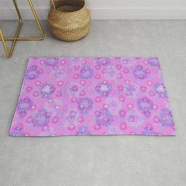 Lotus flower - rich rose woodblock print style pattern Rug