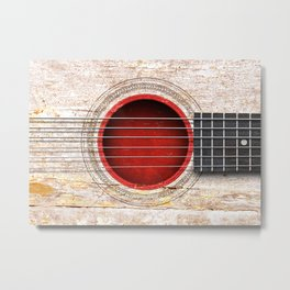 Old Vintage Acoustic Guitar with Japanese Flag Metal Print