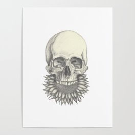 Sunflower Skull Poster