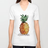 pineapple V-neck T-shirts featuring Pineapple by Bridget Davidson
