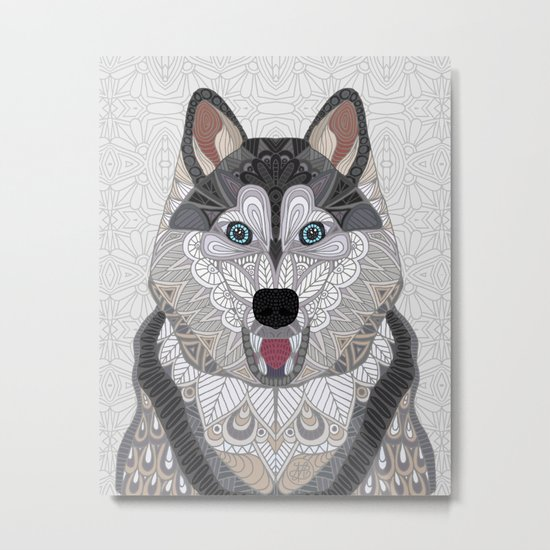Happy Husky Metal Print