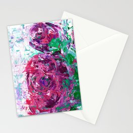 Pink and purple roses Stationery Cards