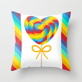 Valentine's Day Heart shaped candy lollipops with bow, colorful spiral candy cane with rainbow Throw Pillow