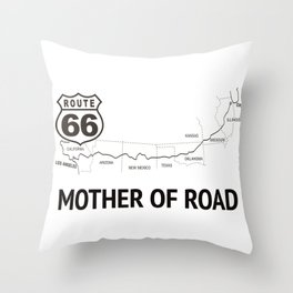 Mother Of Road - Route 66 (white) Throw Pillow