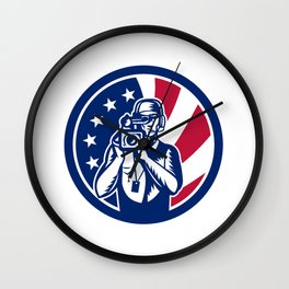 American Cameraman USA Flag Icon Wall Clock