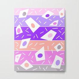 Pink and purple abstract geometric stripe retro design Metal Print